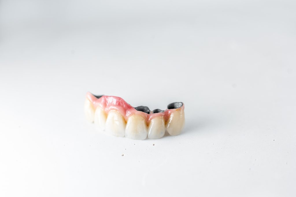 Dental crowns on the white background